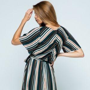 JUST IN**Hunter Green Striped Fall Maxi Dress!